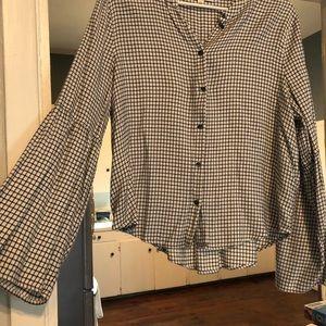 Checkered bell sleeve shirt